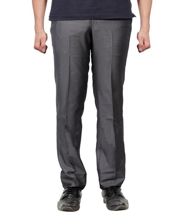 Minditdaddy Grey Regular Fit Flat Trousers