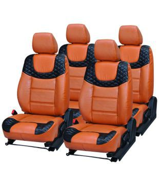 Musicar Orange Black Leatherite Seat Covers For Maruti