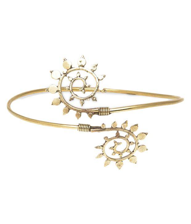 Watch Me Golden Alloy Designer Bracelet