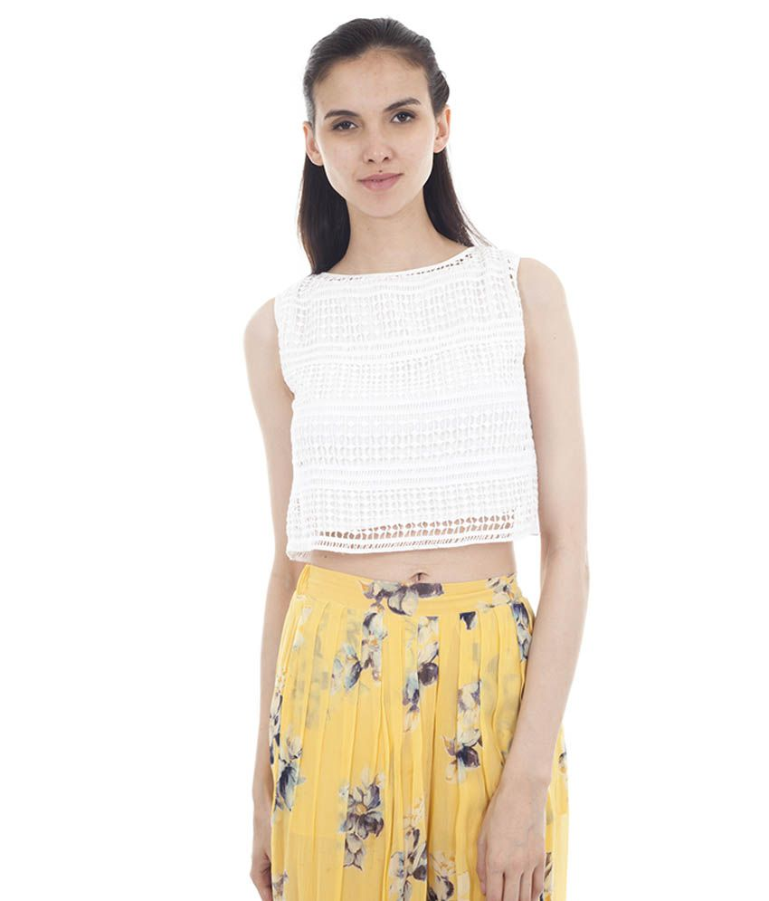 d5428ae02c8 Forever9teen White Lace Crop Top - Buy Forever9teen White Lace Crop Top  Online at Best Prices in India on Snapdeal