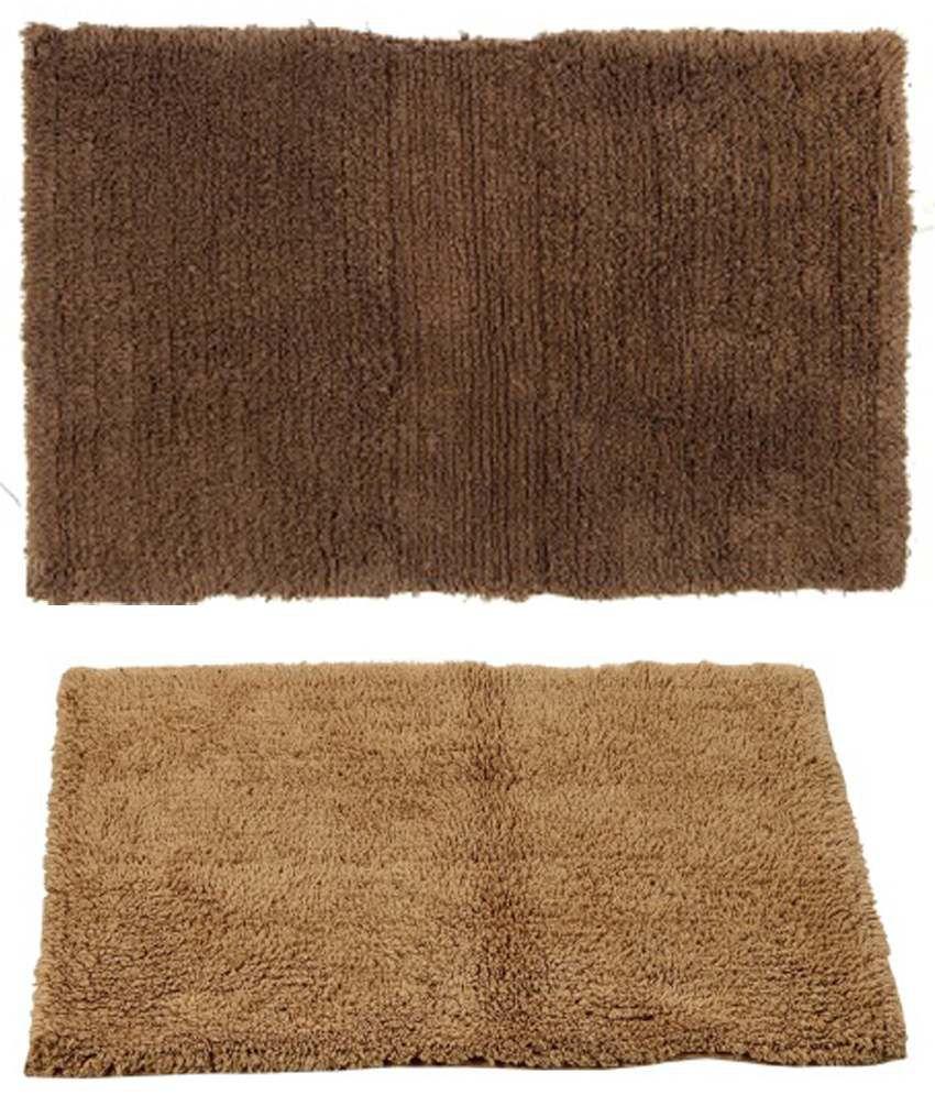 Homefurry Brown Cotton Floor Mat - Set of 2
