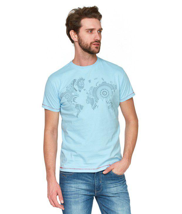 Mavango Blue Round T Shirts