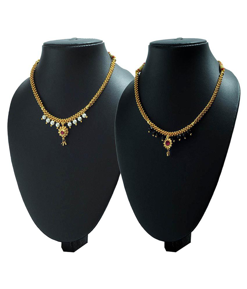 Womens Trendz Golden Alloy Necklace With Mangalsutra