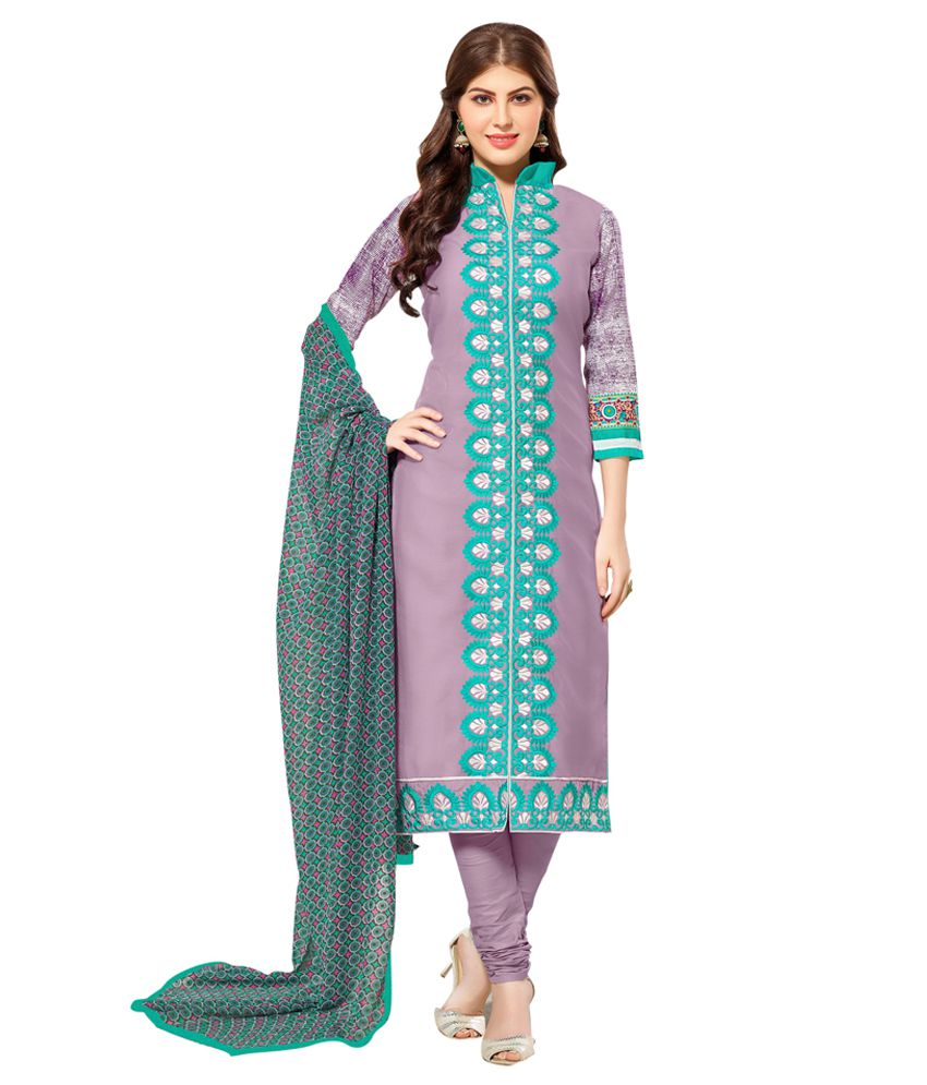 Swaron Multicoloured Chanderi Straight Unstitched Dress Material