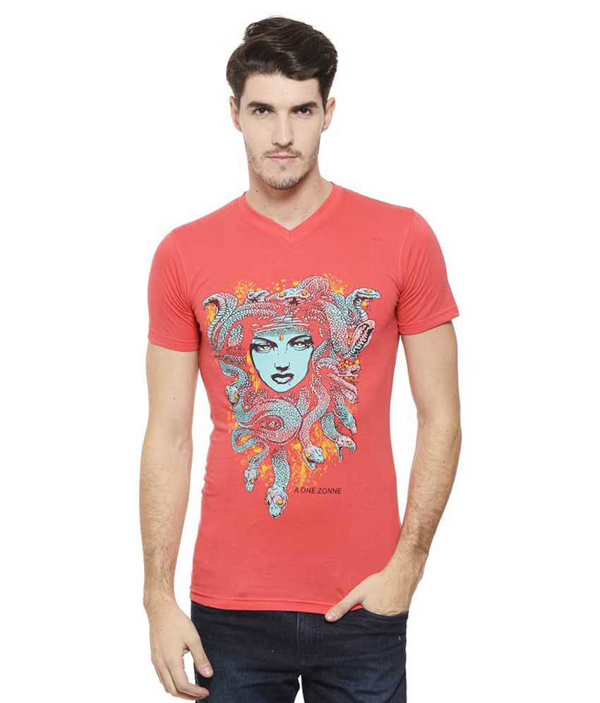 A1 Tees Red V-Neck T Shirt
