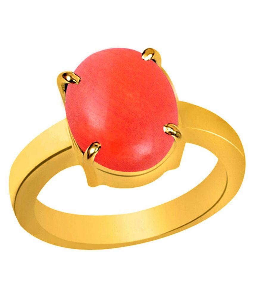 Clara Coral Moonga 4.8 Carat (5.25 Ratti) Panchdhatu Gold Plated Astrological Ring For Men & Women