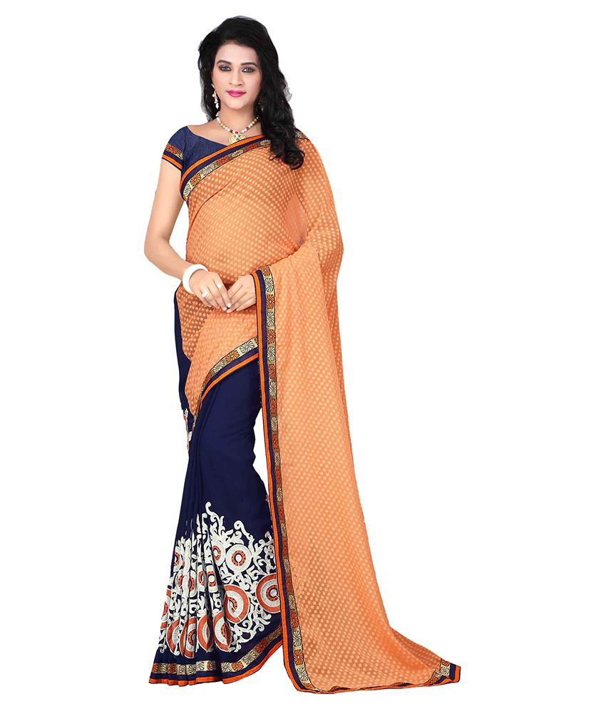 Jenny Fashion Orange Jacquard Saree