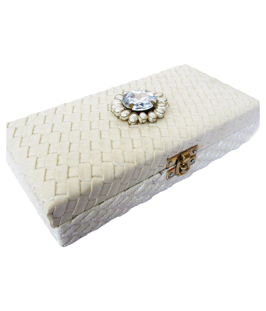 WeddingPitara White Wooden Wedding Cash Box