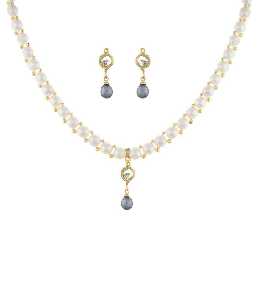 Classique Designer Jewellery White Alloy CZ Necklace Set