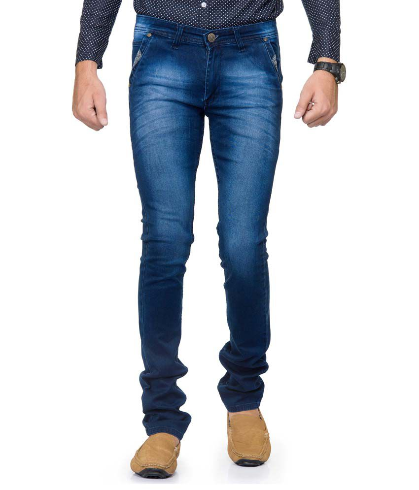 Gr8onyou Blue Skinny Fit Faded Jeans