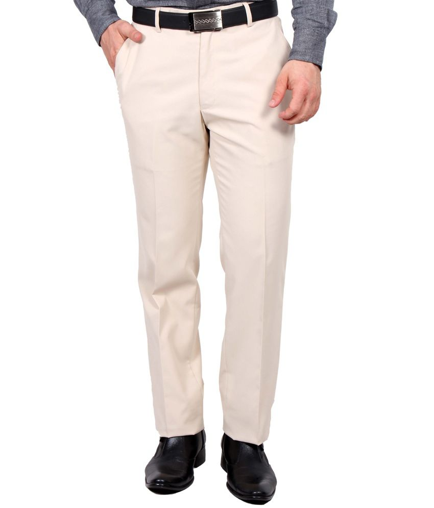 Ultimate Choice Beige Regular Fit Flat Trousers
