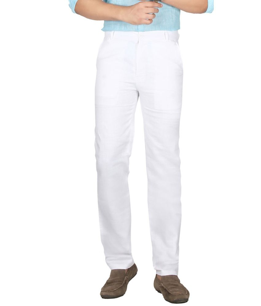 Ultimate Choice White Regular Fit Flat Trousers