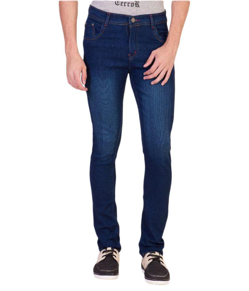 Aeroglide Blue Regular Fit Solid Jeans