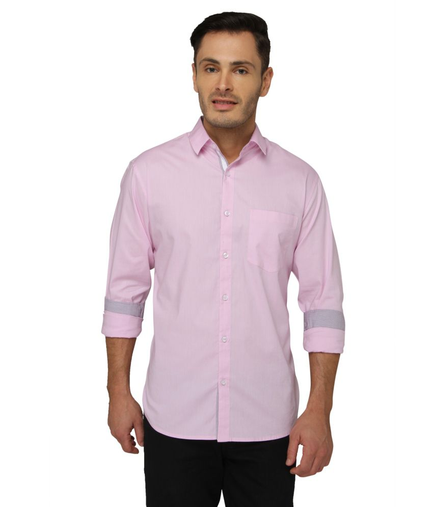 Bluvior Pink Casuals Slim Fit Shirt