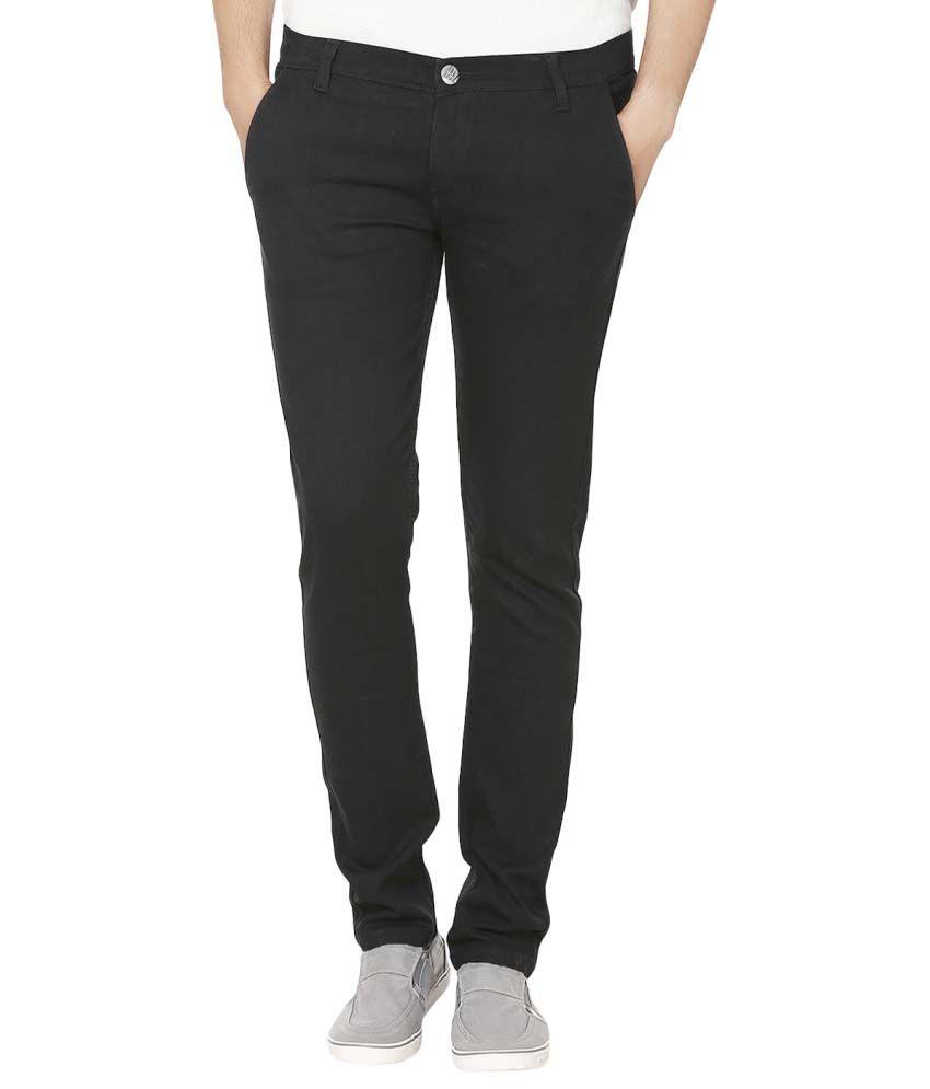 Club Vintage Black Slim Fit Solid Jeans