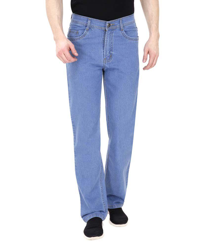 Fizzaro Blue Regular Fit Solid Jeans