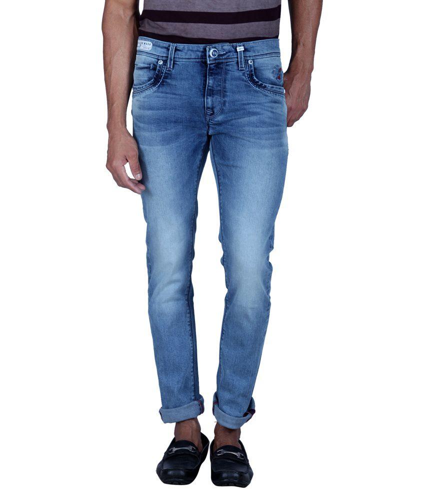 Lawman PG3 Blue Slim Fit Solid Jeans