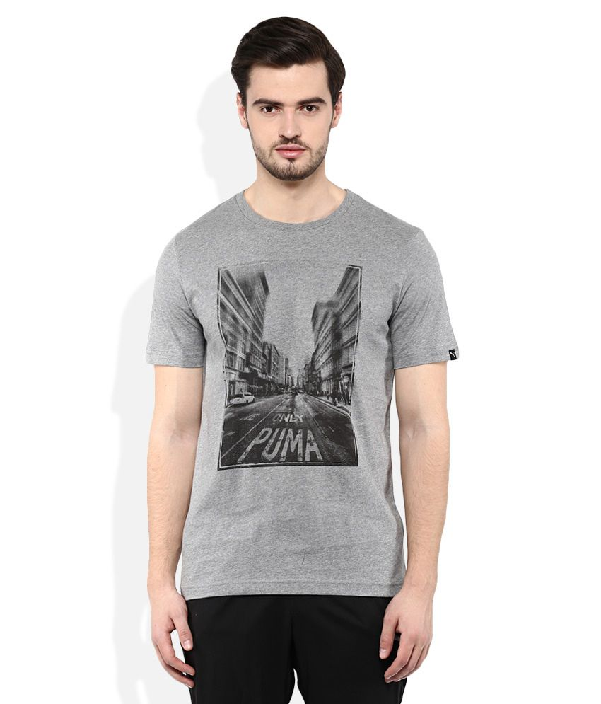 Puma Gray Round neck T Shirt