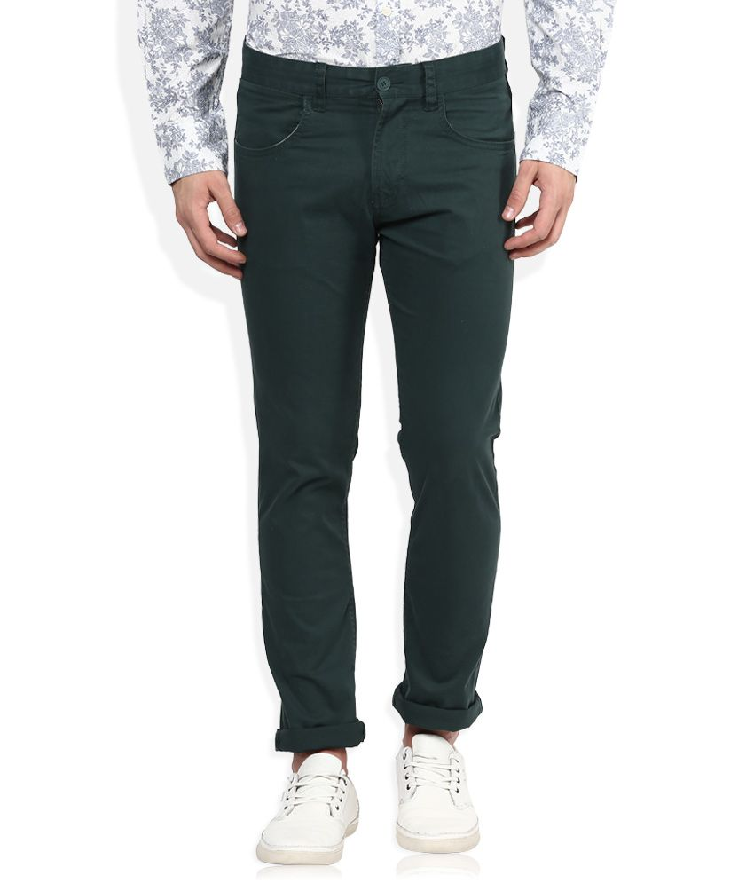 FCUK Green Regular Fit Trousers