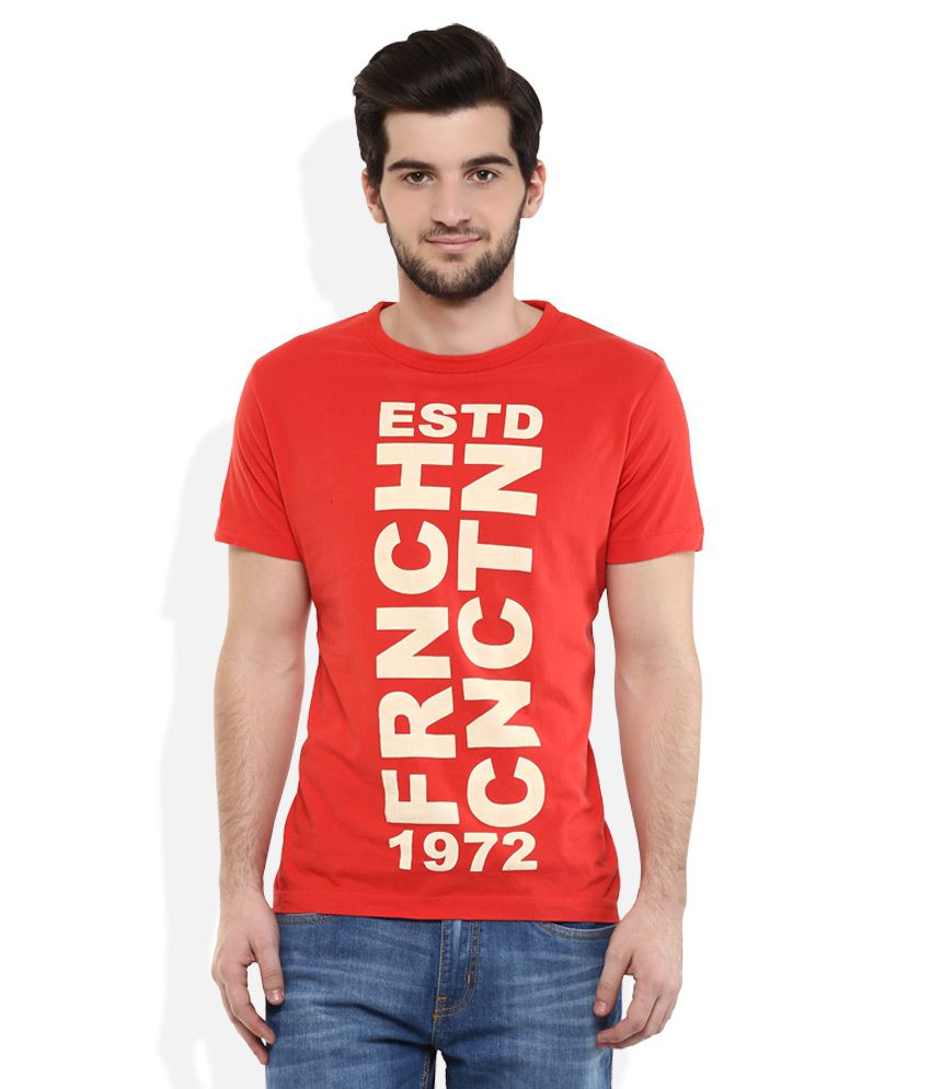 FCUK Red Round Neck T-Shirt