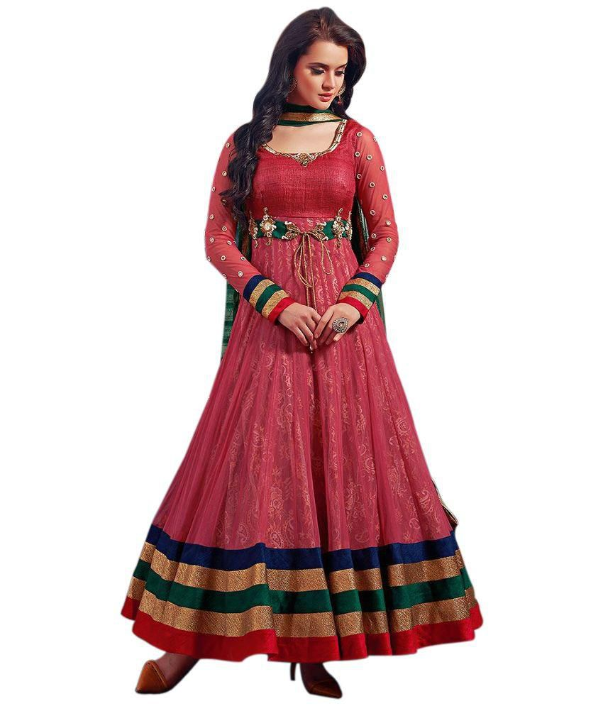 Fashion Storey Pink Net Anarkali Semi Stitched Dress Material