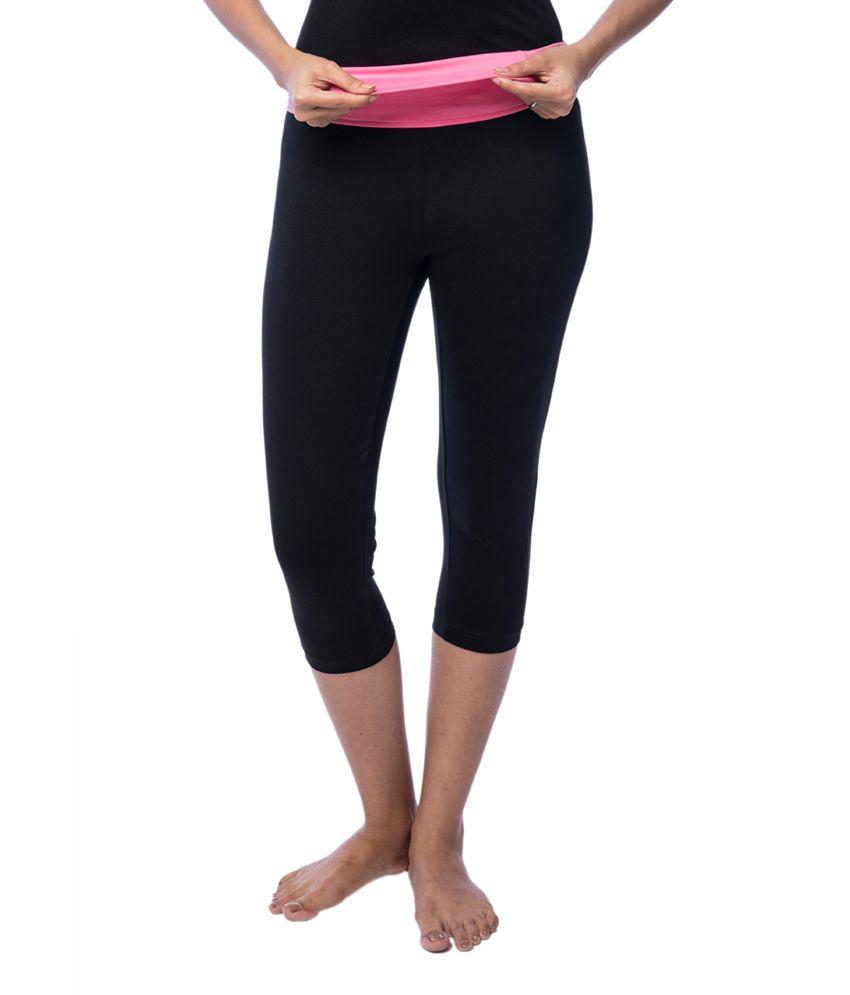 Nite Flite Yoga Capri with Pink Foldover Waistband