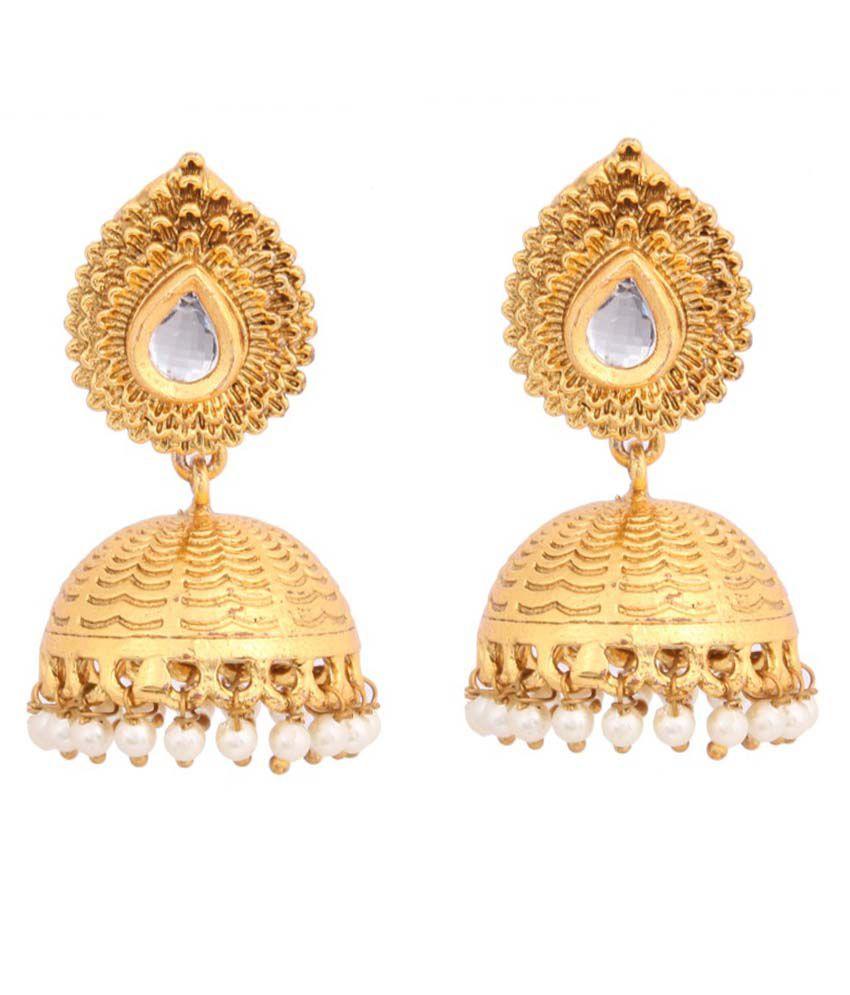 Fasherati Golden Brass Jhumkis