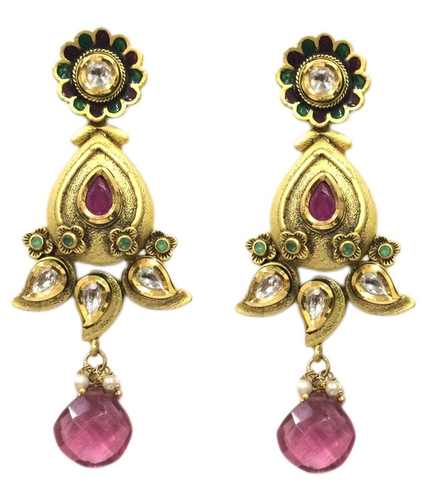 Grassroot Galery Gold and Pink Kundan Hanging Earrings