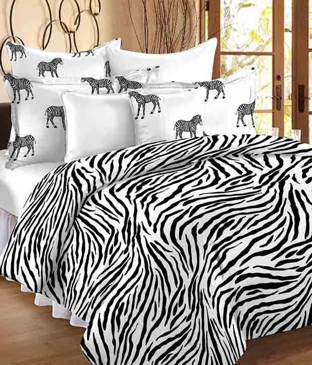 Story@Home Double Cotton Multi-Colour Stripes Bedding Set Coordinated