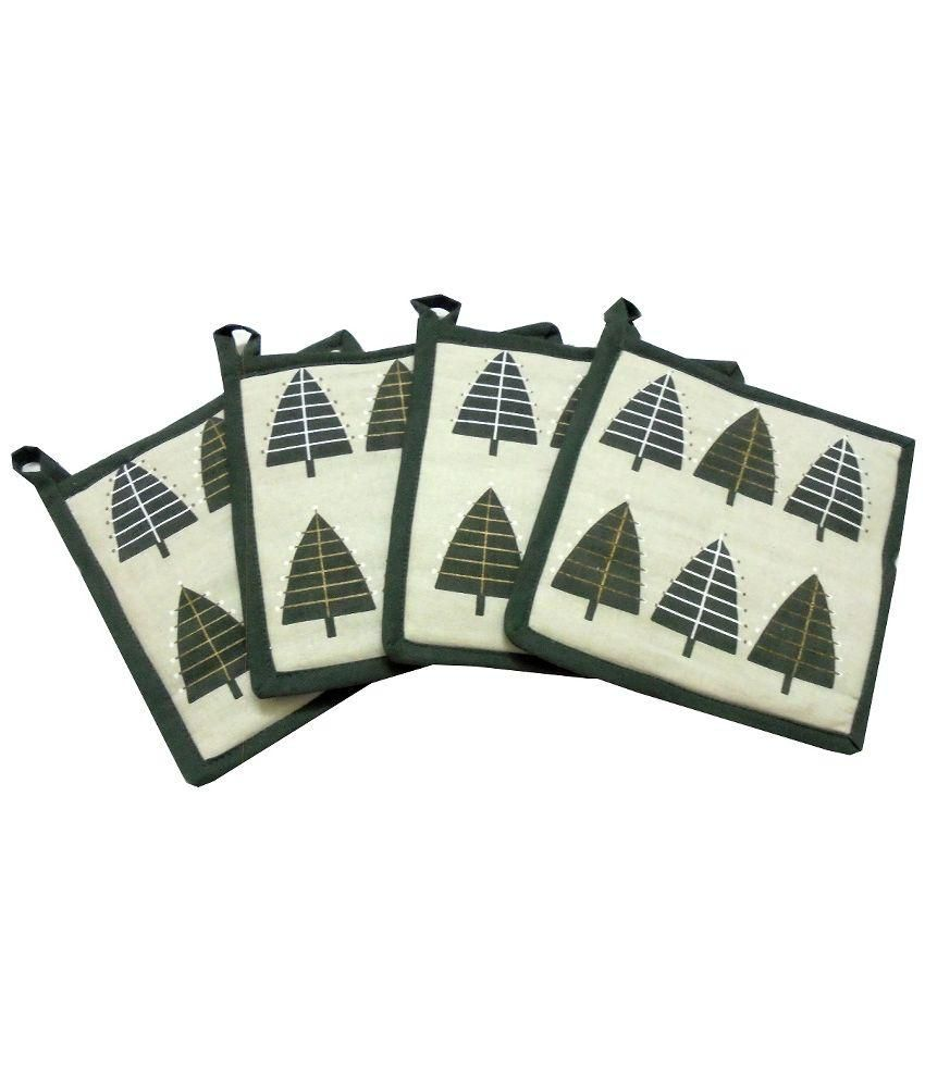 Tidy Green Cotton Pot Holder - Pack of 4