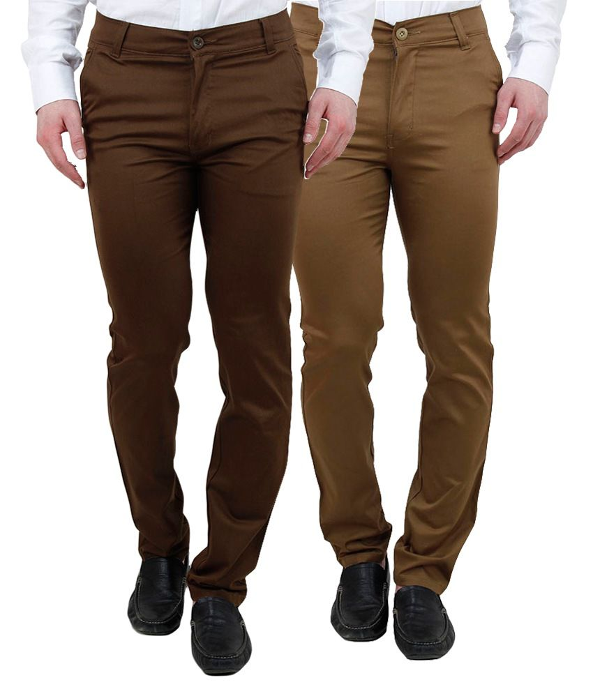 Ansh Fashion Wear Fashion Wear Multi Regular Fit Chinos Pack of 2