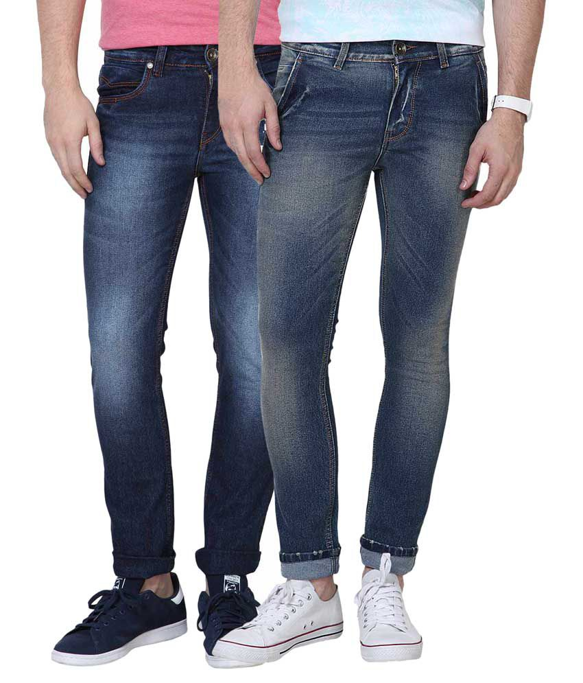 SuperX Blue Skinny Fit Faded Jeans Set of 2