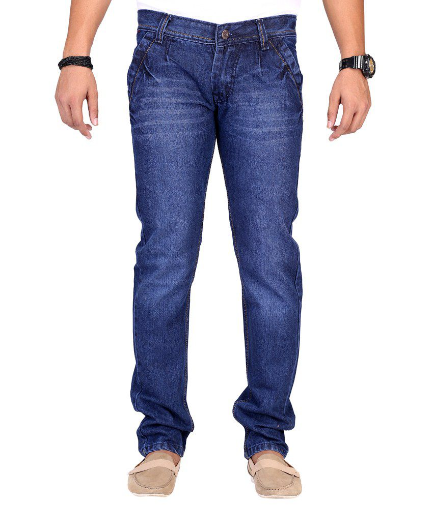 Ansh Fashion Wear Fashion Wear Blue Regular Fit Mid Jeans