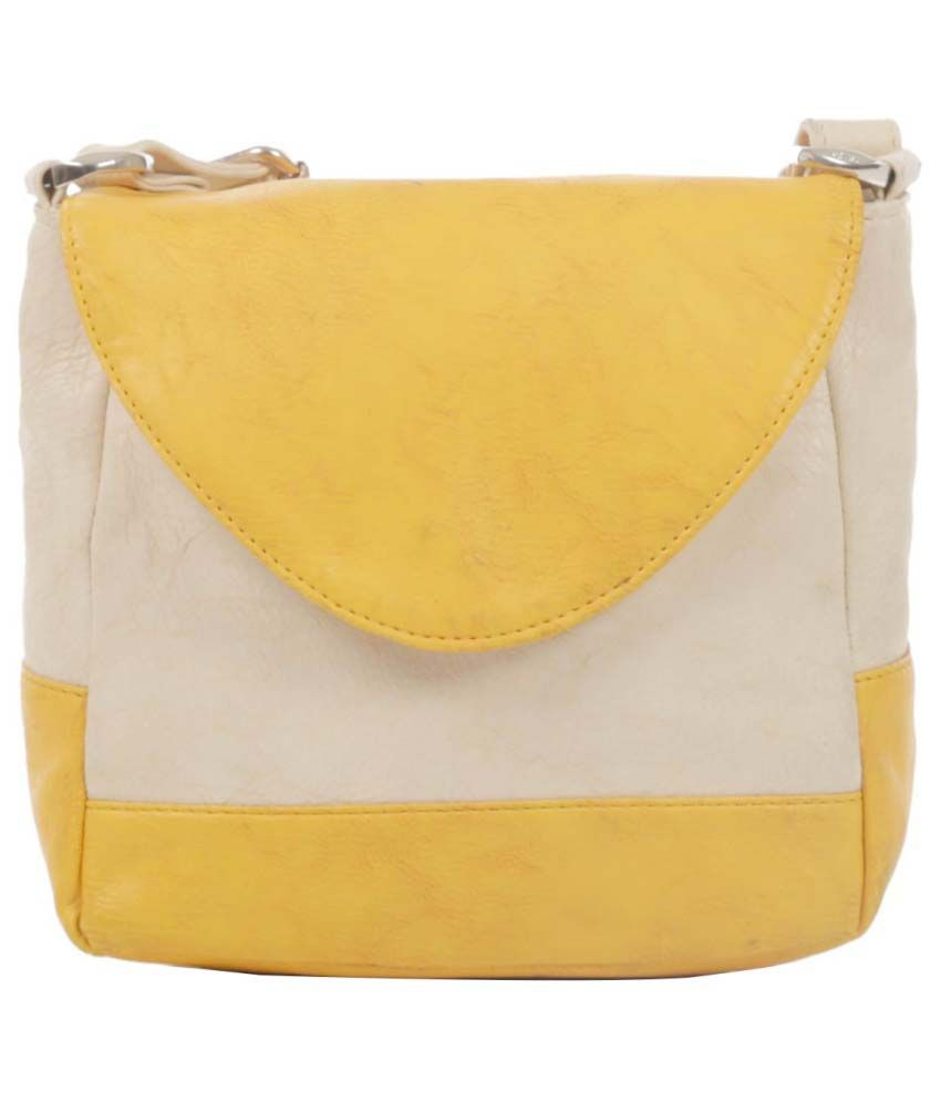 Ebry Yellow Faux Leather Sling Bag