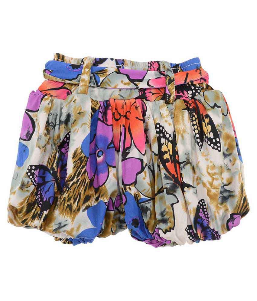 Kkpkidsworld Multicolor Rayon Shorts For Girls