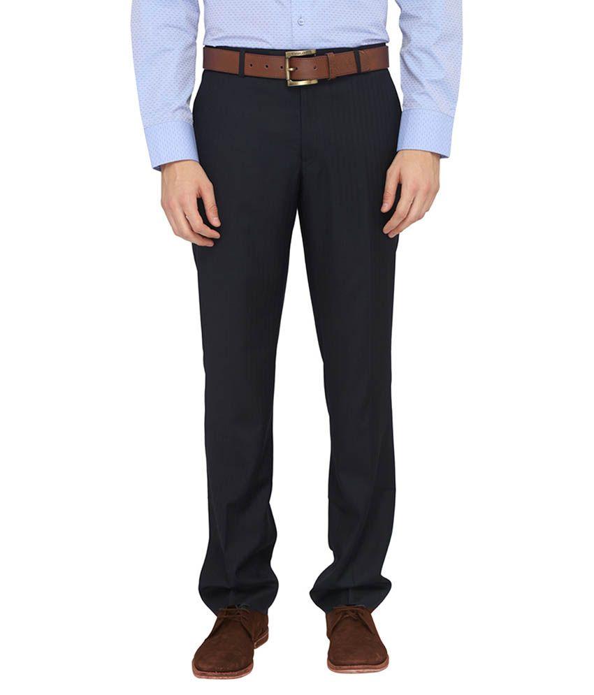 Metal Black Regular Fit Flat Trousers