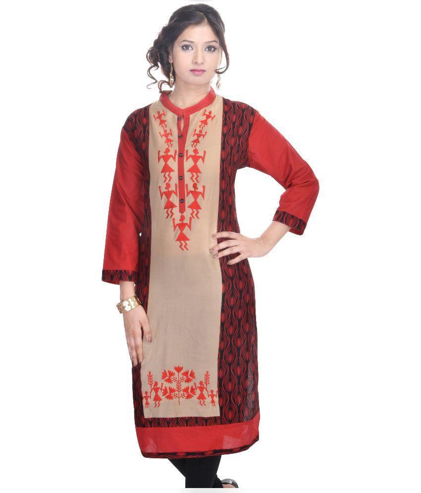 Rangilo Rajasthan Collection Multi Color Cotton Straight Kurti