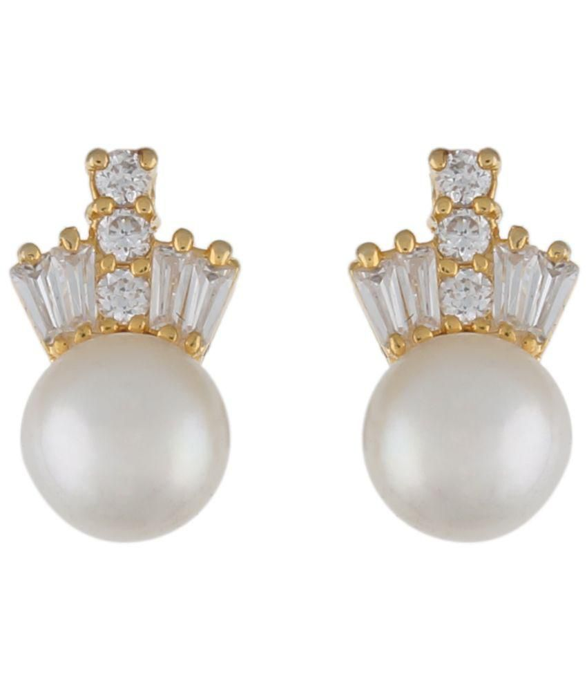 Alyza Pearls White Stud Earrings