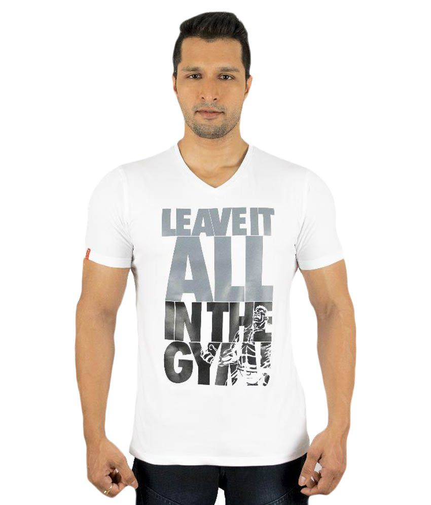 BE ALPHA White V-Neck T Shirts