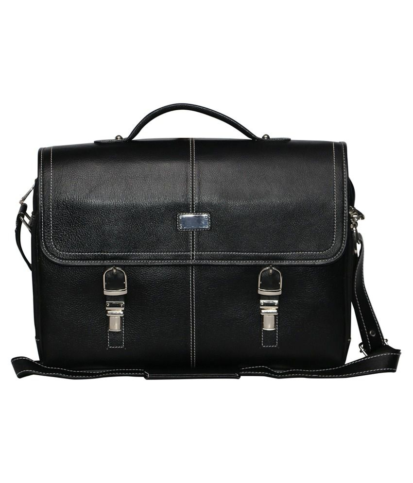 C Comfort Black Leather Messenger Bag
