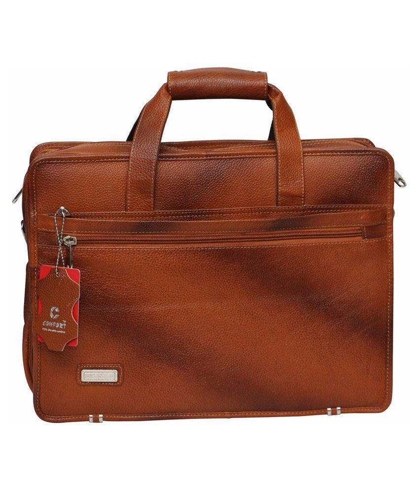 C Comfort Tan Leather Messenger Bag