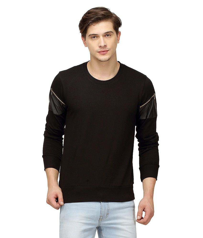Campus Sutra Black Round T-Shirt