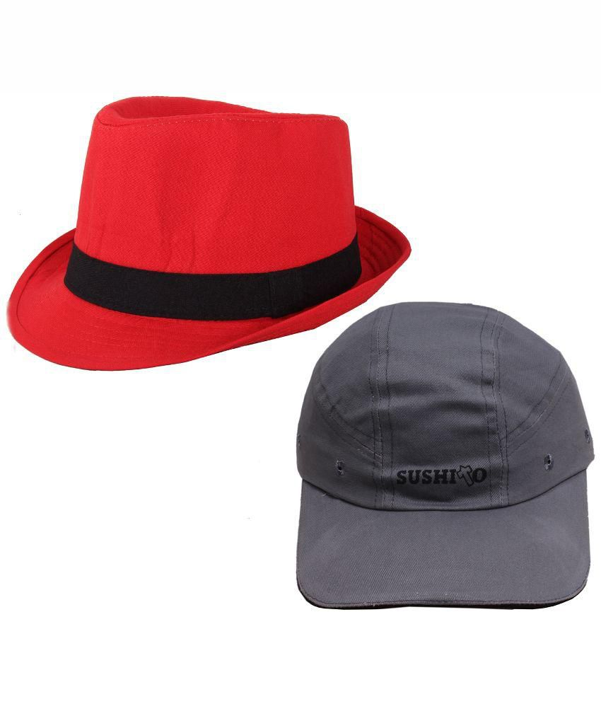 Jstarmart Red and Grey Baseball Cap With Hat