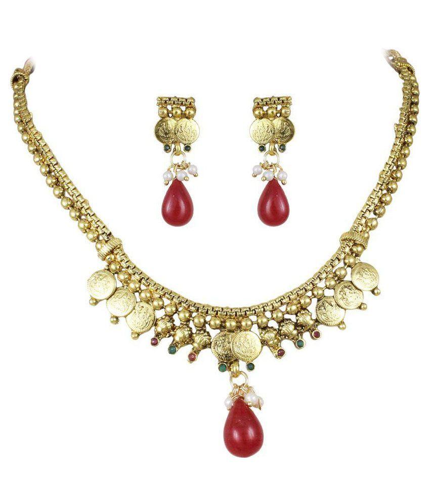 Karatcart Golden and Red Brass Necklace Set