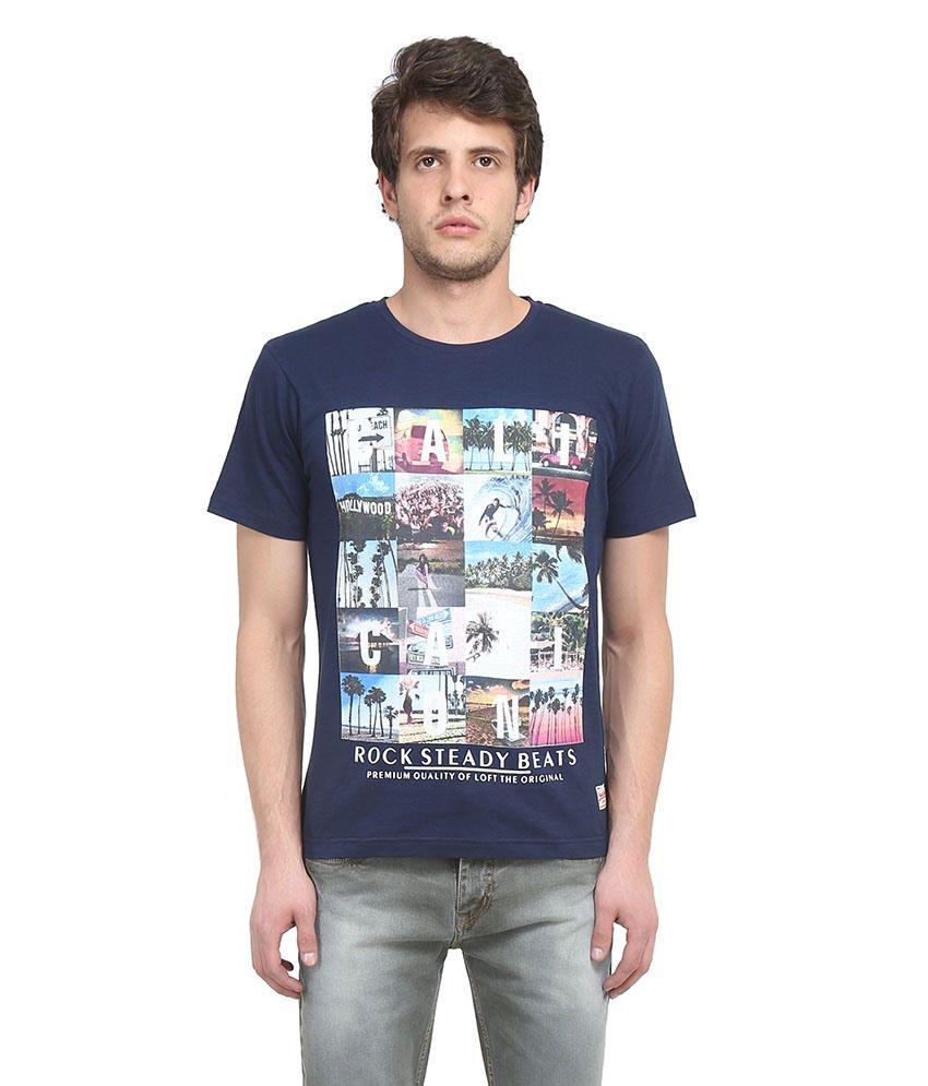 Austin Wood Navy Round T Shirts