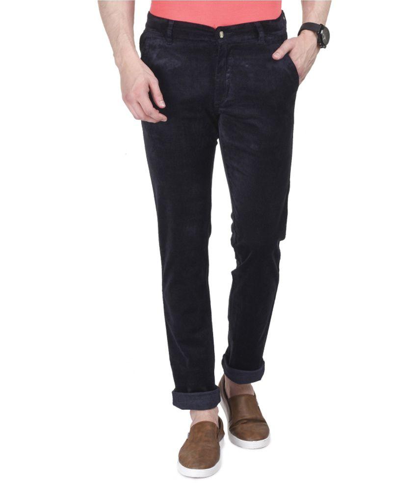 Ruace Blue Slim -Fit Flat Trousers