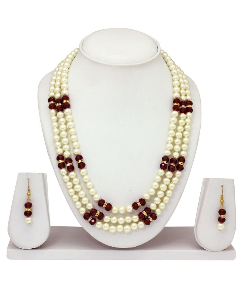Atasi International White Pearls Necklace Set