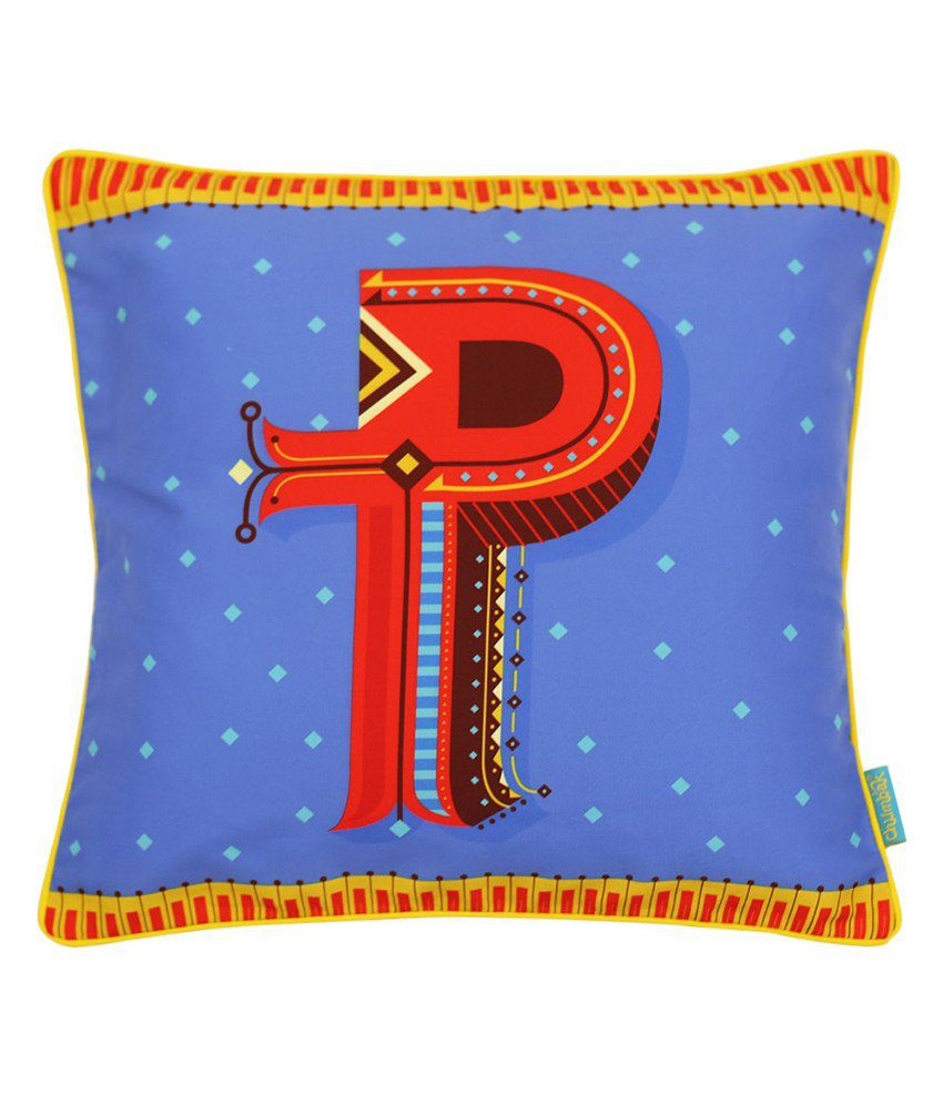 Chumbak Blue Polyester Cushion Cover