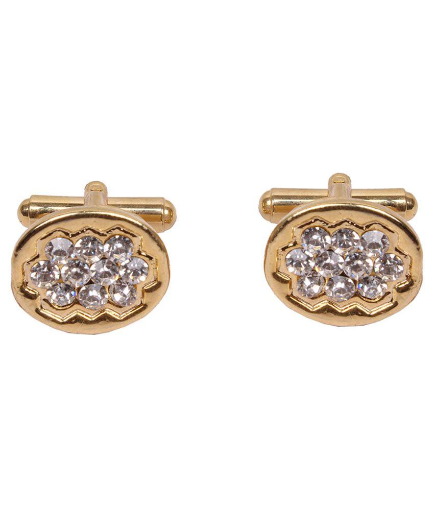 Jstarmart Golden Metal Crystal Cufflinks