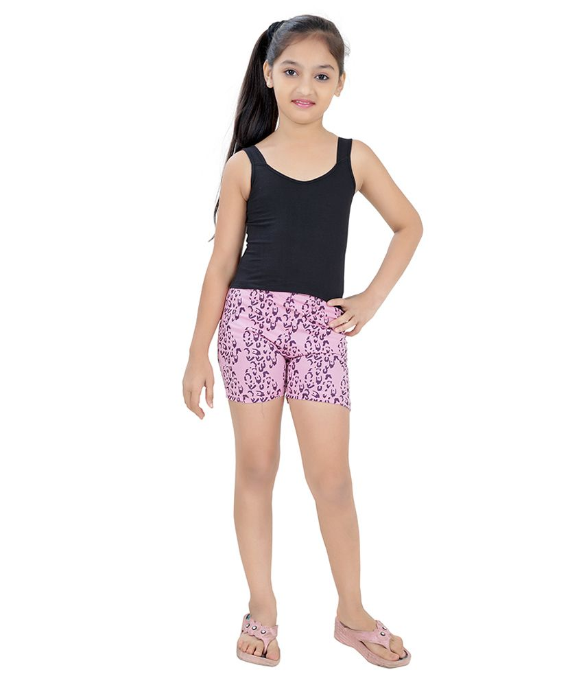 Just4you Pink and Purple Cotton Shorts for Girls